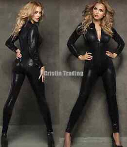 New Black Long Sleeve PVC Catsuit Bodysuit Jumpsuit Sexy Lingerie Women Zipper