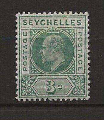 Seychelles 1906 MCA 3c sg.61a dented frame, MH but diagonal corner crease at top