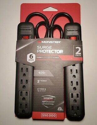 MONSTER SURGE PROTECTOR W/ 6 GROUNDED OUTLETS 2 PACK 620J 2 FT BLACK CORD