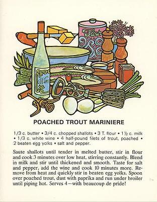 VINTAGE POUCHED TROUT FISH WHITE WINE RECIPE PRINT 1 CATS KITTENS GARDEN CARD