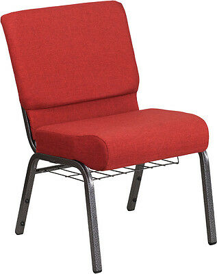LOT OF 100 21'' WIDE CRIMSON FABRIC CHURCH CHAIR W/4'' THICK SEAT, CUP BOOK RACK