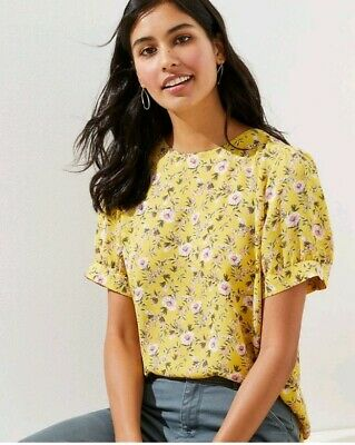 Loft Floral Puff Sleeve Button Back Top Blouse    NWT $54.50          -