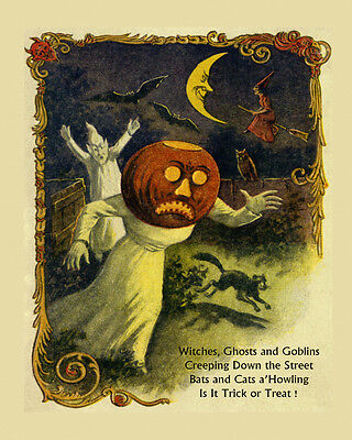 Halloween Witches Flying Ghosts Bats Cats Scary 16X20 Vint Poster Repro FREE SH