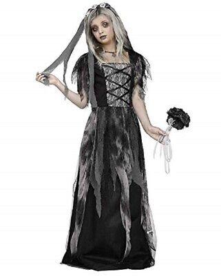 NEW Fun World Cementary Bride Halloween Dress Up Costume Sz: M 8-10 - Dress Up Bride Costume