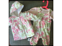 New baby girls Disney coat and jumpsuit/ dungarees. 0-3 months, complete outfit