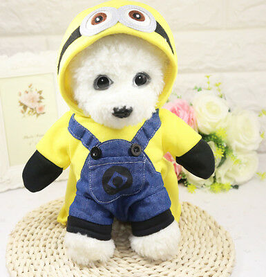 Small Dog Cat Clothes Minions Cartoon Cute Hoodie Pet Novelty Costume Puppy Clot](Minion Cat Costume)