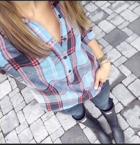 OLD NAVY PLAID POPOVER SHIRT-NEW!