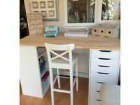 Bespoke made craft table/desk and 2x chairs