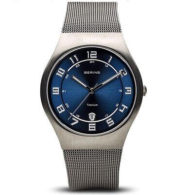 BERING Time Mens Titanium Mesh Band Black Dial Sapphire Crystal Watch 11937-078 Mesh Titanium Wrist Watch