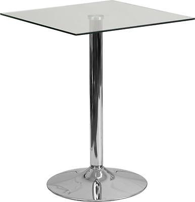 23.75 Square Glass Top Restaurant Table With 30h Chrome Base
