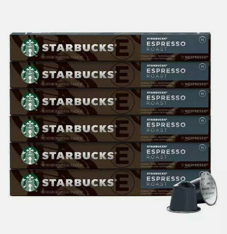 60 Starbucks Espresso Roast by Nespresso, 10 Capsules x 6 Pack Coffee EX 2/28/21