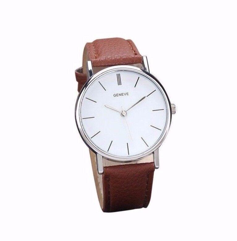 $13.95 - Geneve Luxury Stainless White Brown Leather Men Women Dress Fashion Quartz Watch