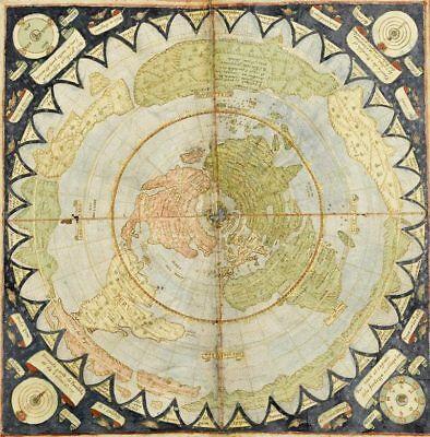 Flat Earth Map:  Monte, Urbano:  Circa 1589: MAP PRINT