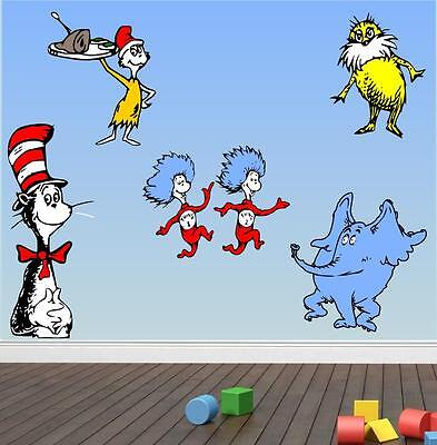Wall Dr SEUSS CHARACTERS Kids Room Cartoon Decal Cat in Hat MCARTWORK STICKERS - Seuss Characters