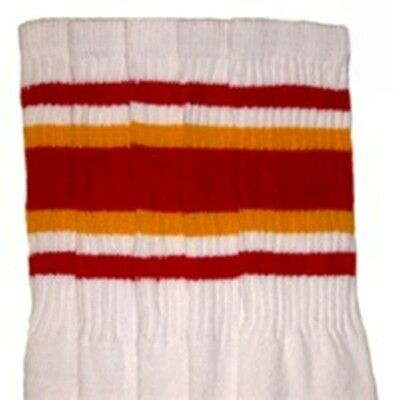 """30"""" OVER THE KNEE WHITE tube socks with RED/GOLD stripes style 4 Product (30-2)"""