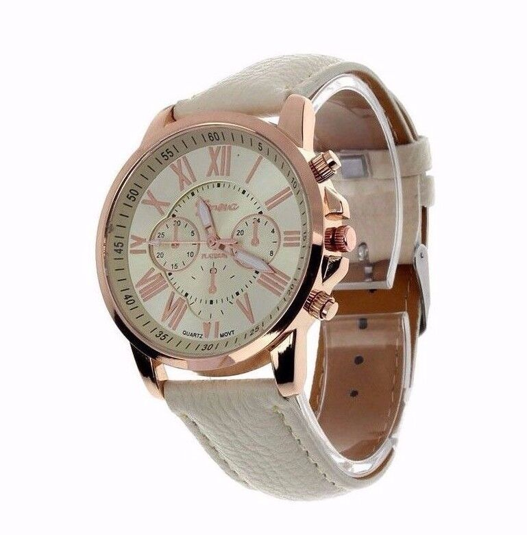 Trendy Sale Luxury Rose Gold Leather Stainless Women Quartz  Dress Fashion Watch