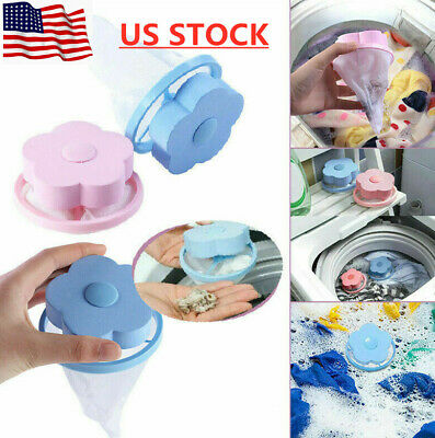 1-10pc Floating Laundry Lint Pet Fur Catcher Hair Remover For Washing Machine  ()