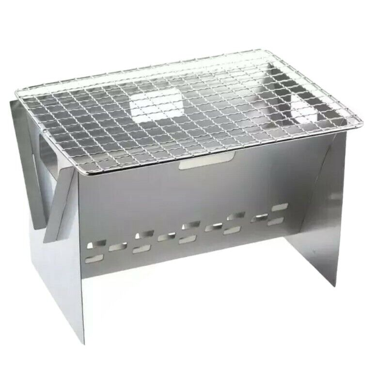 Ultralight wood or charcoal grill, collapsable for hiking/camping. Packs flat.