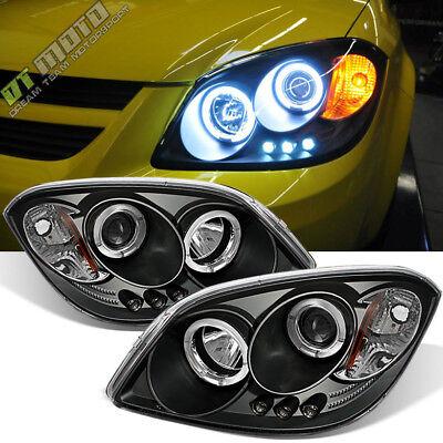 Black 2005-2010 Chevy Cobalt Pontiac G5 LED Halo Projector Headlights Left+Right