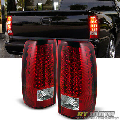 Clear Led Tail Lamps - For 2003 2004 2005 2006 Silverado Red Clear LED Tail Lights Lamps Left+Right Set