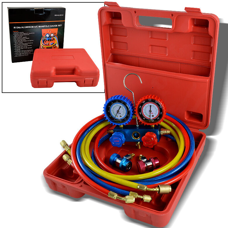 R134a R12 R22 AC A C Manifold Gauge Set 6ft Colored Hose Air Conditioner Freon