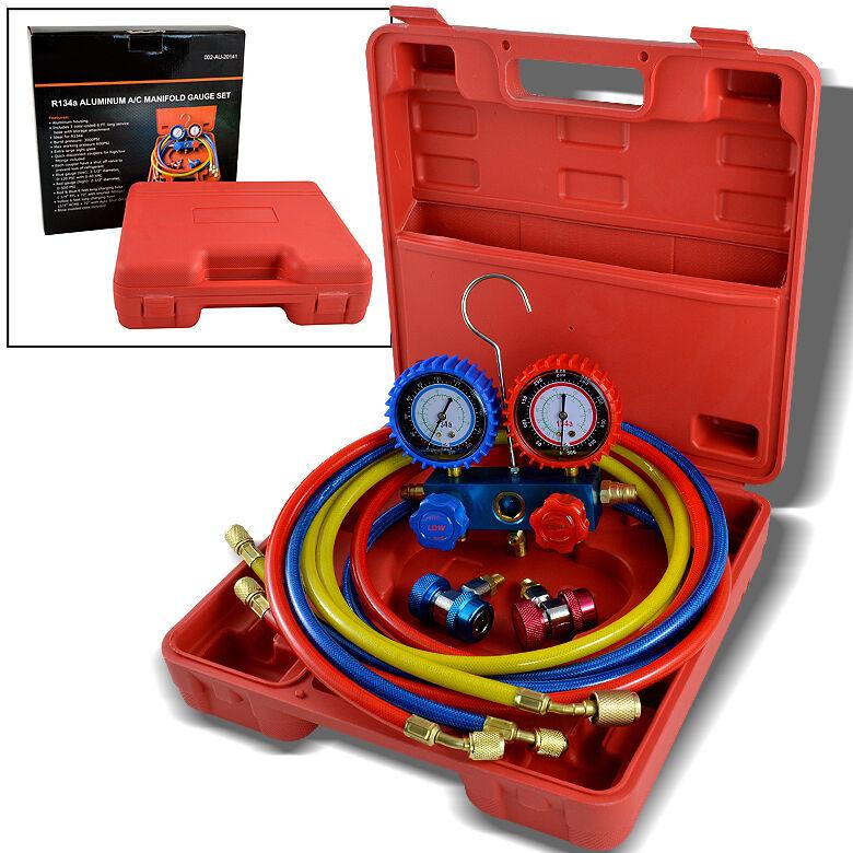 R134a R12 R22 AC A C Manifold Gauge Set 6ft Colored Hose Air Conditioner Freon