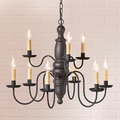 2 Tier 9 Arm Chandelier - Country Primitive Fairfield 2 Tier 9 Arm  Wooden Chandelier in 5 Color Choices