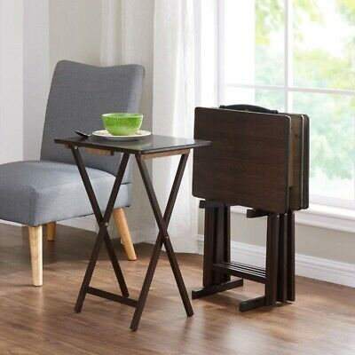 Folding TV Dinner Tray Table Set 5 Piece Wood Trays Stand Living Room -