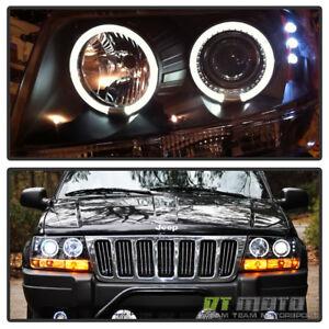 Black 1999-2004 Jeep Grand Cherokee LED Dual Halo Projector Headlights Headlamps