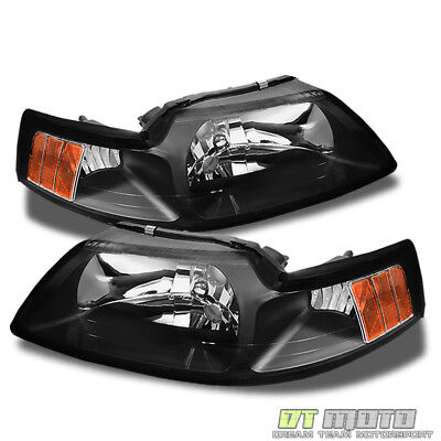 Black 1999-2004 Ford Mustang Headlights Headlamps Replacement 99-04 (2001 Ford Mustang Headlights)