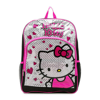 Hello Kitty Glitter Backpack 16inch Black Pink Silver with Hearts (Hello Kitty Backpack Black)