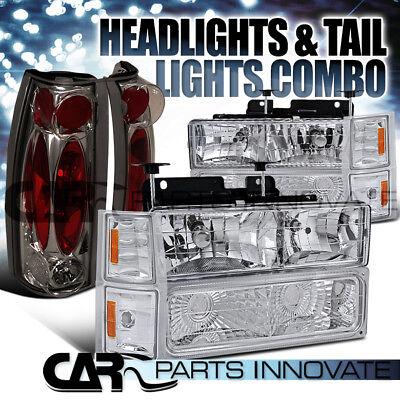 94-98 Silverado 1500/2500/3500 Chrome Headlights+Bumper Corner+Smoke Tail Lamp