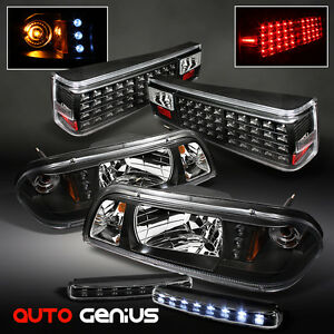 87 93 mustang black 1pc headlights w led led tail lights. Black Bedroom Furniture Sets. Home Design Ideas