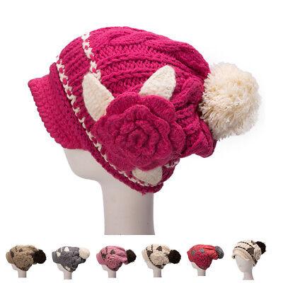 Womens Cotton Newsboy Beanie Skull Cap Flower Knit Winter Pom Pom Ski Hat A298 - Newsboy Beanie