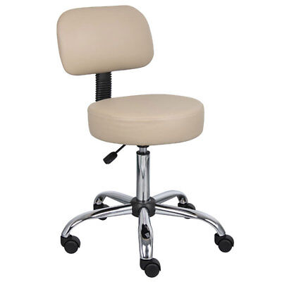 Commercial Grade Beige Vinyl Medical Dental Tattoo Salon Stool Chair With Back