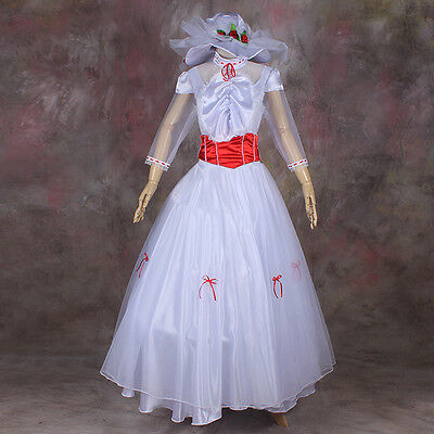 Mary Poppins Disney Cosplay costume Kostüm Halloween Ball Weiss lang Kleid Dress