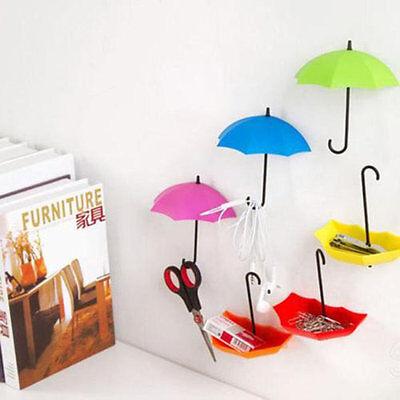 3Pcs Colorful Umbrella Wall Hook Key Hair Pin Holder Organizer Decorative MY
