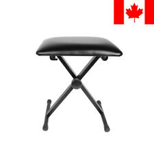 Adjustable Folding Piano Keyboard Bench Leather Padded Stool X Seat Chair Black