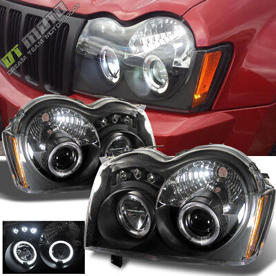 Blk 2005-2007 Jeep Grand Cherokee LED Dual Halo Projector Headlights Left+Right