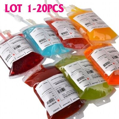 1-20X REUSABLE IV BLOOD BAGS HALLOWEEN PARTY HAUNTED DRINK CONTAINER DECORATION (Blood Bags)