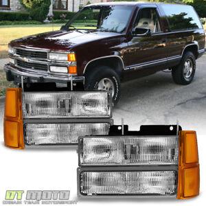 1994-1998 Chevy Silverado Suburban Tahoe Headlights+Corner+Bumper Parking Lamps