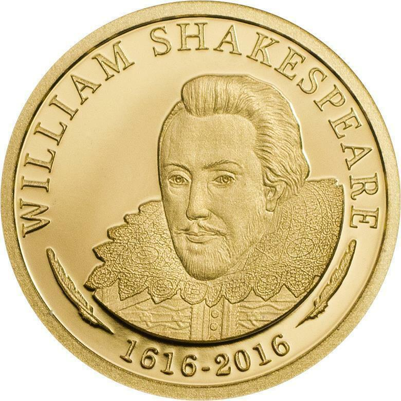 Cook islands 2016 $5 william shakespeare gold 0,5g proof coin