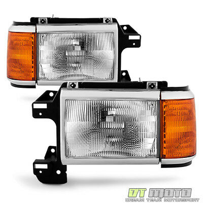 - 1987-1991 Ford Bronco F150 F250 Truck Headlights Chrome Trim Headlamps Pair Set