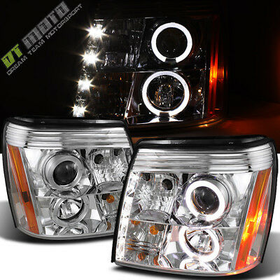 2003-2006 Cadillac Escalade DRL LED Projector Halo Headlights Headlamps HID Type