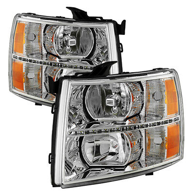 Chevy 07-13 Silverado 1500 2500 3500 Chrome Housing Replacement LED Headlights