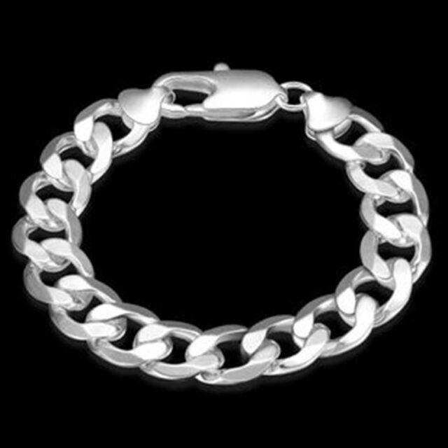 Mens Womens 925 Sterling Silver 12mm Flat Cuban Link Chain Bracelet Br318