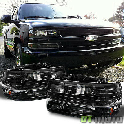 Black 99 06 Chevy Silverado Tahoe Suburban Headlights Bumper Lamps Replacement