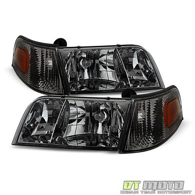 Smoked 1998-2011 Ford Crown Victoria Headlights+Corner Signal Lights Left+Right ()