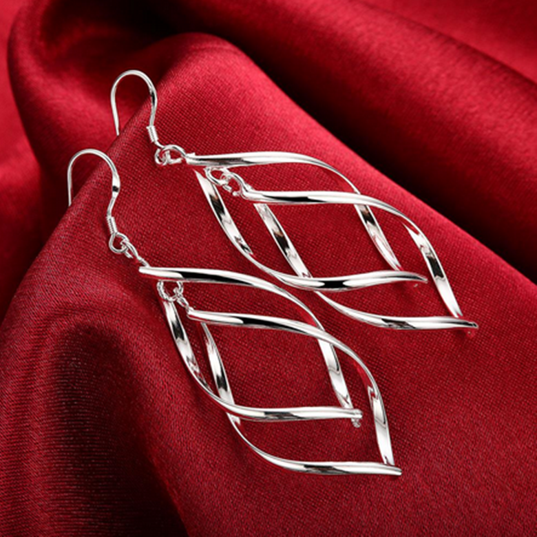 Jewellery - Womens 925 Sterling Silver Twist Spiral Long Drop Dangle Charm Earrings #E27