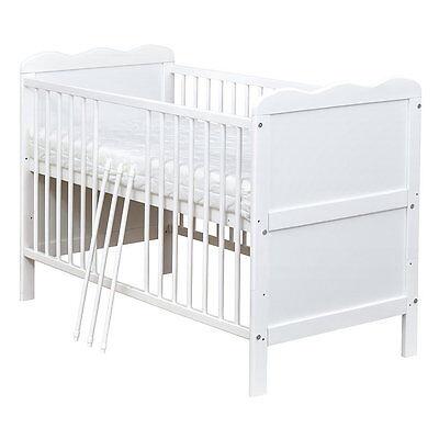 Babybett Kinderbett Juniorbett Weiß 140x70 umbaubar NEU